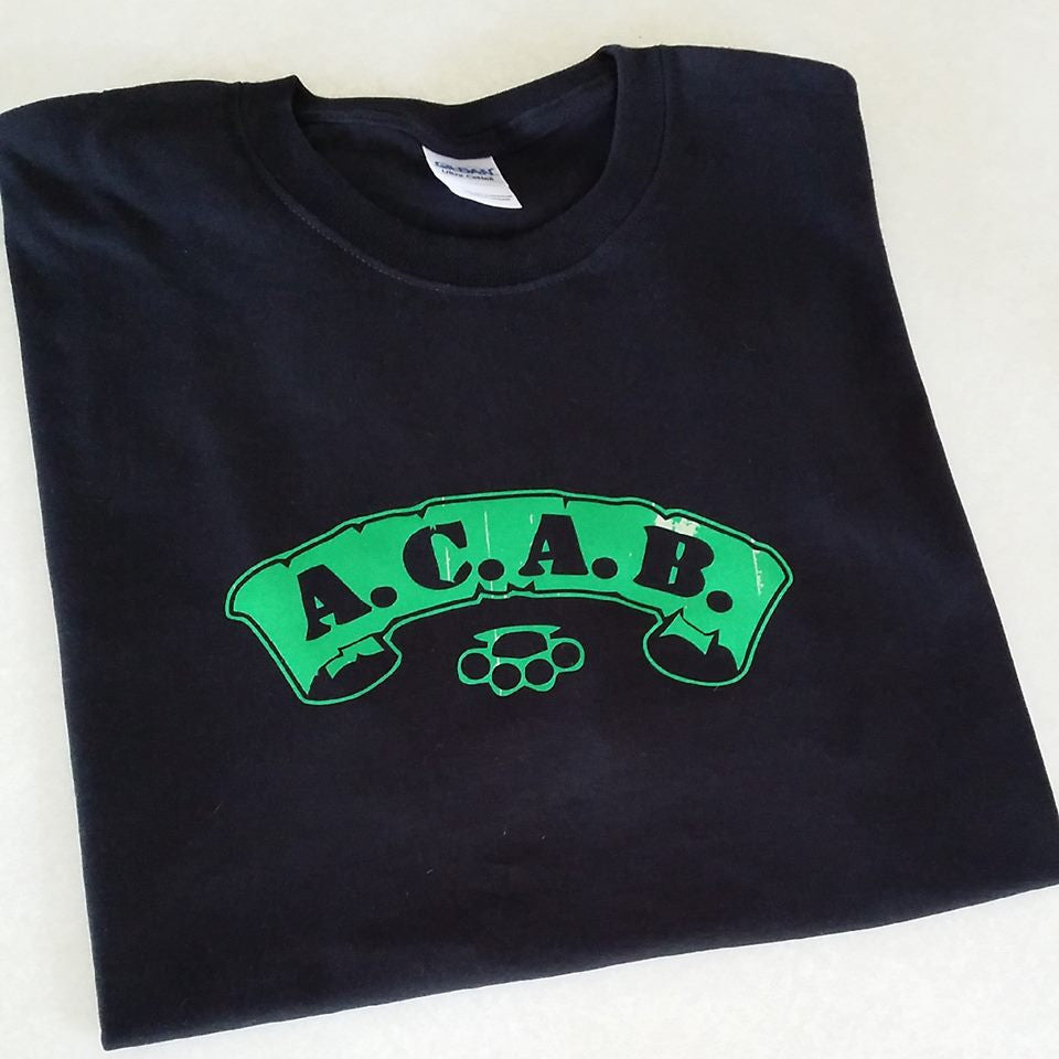 ACAB Green Scroll with Brass Knuckles A.C.A.B. T-shirt