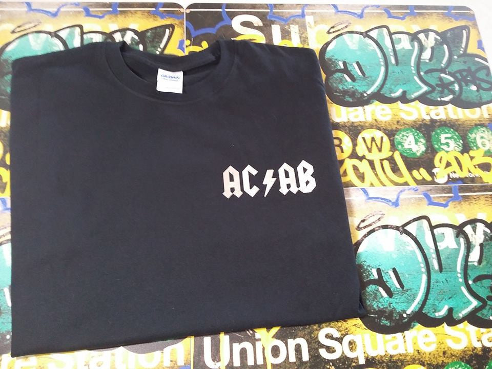 ACAB All Cops Are Bastards Small AC/DC Logo A.C.A.B. T-shirt