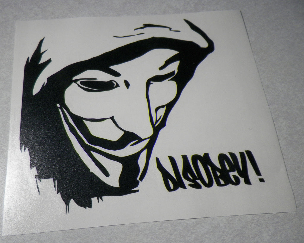 Anonymous Disobey Guy Fawkes Mask Die Cut Vinyl Decal Sticker