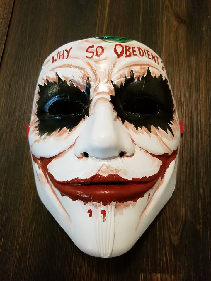 Anonymous Joker Batman Movie Custom Mask Hand Painted Guy Fawkes