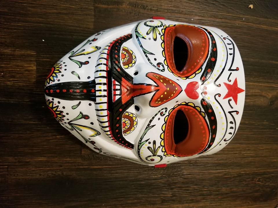 Anonymous Sugar Skull Anonymiss Custom Mask Hand Painted Guy Fawkes Anon