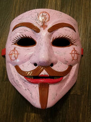 Anonymous Anonymiss Anarchy Pink Custom Mask Hand Painted Guy Fawkes