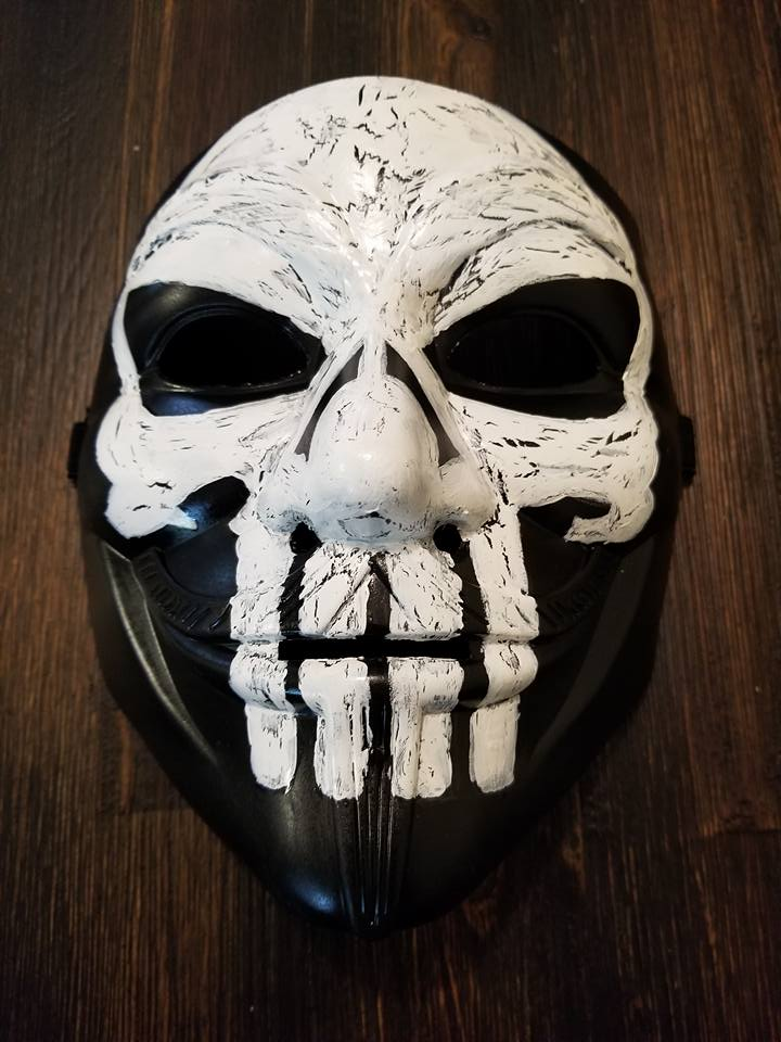 Anonymous Punisher Skull Custom Mask Hand Painted Guy Fawkes Anon