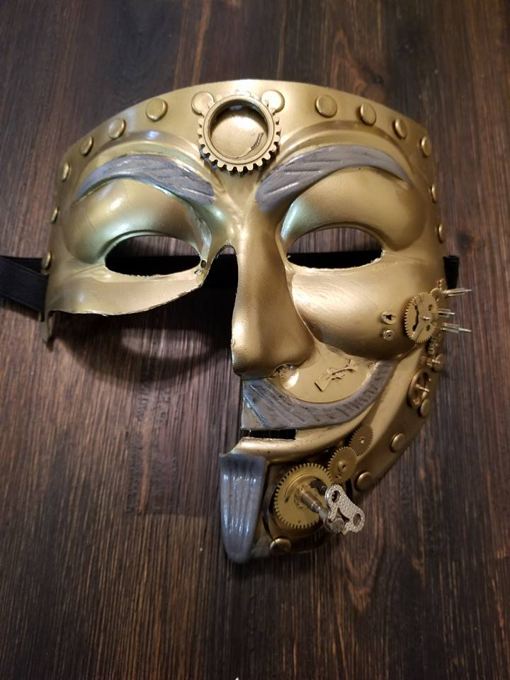 Anonymous SteamPunk 1/2 Anon Mask Custom Mask Hand Painted Guy Fawkes