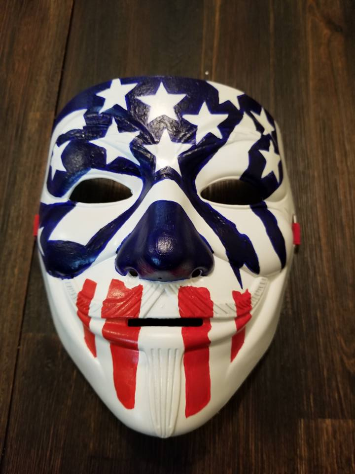 Anonymous Purge Movie Custom Mask Hand Painted Guy Fawkes Anon