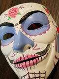 Anonymous Anonymiss Sugar Skull Pink Custom Mask Hand Painted Guy Fawkes