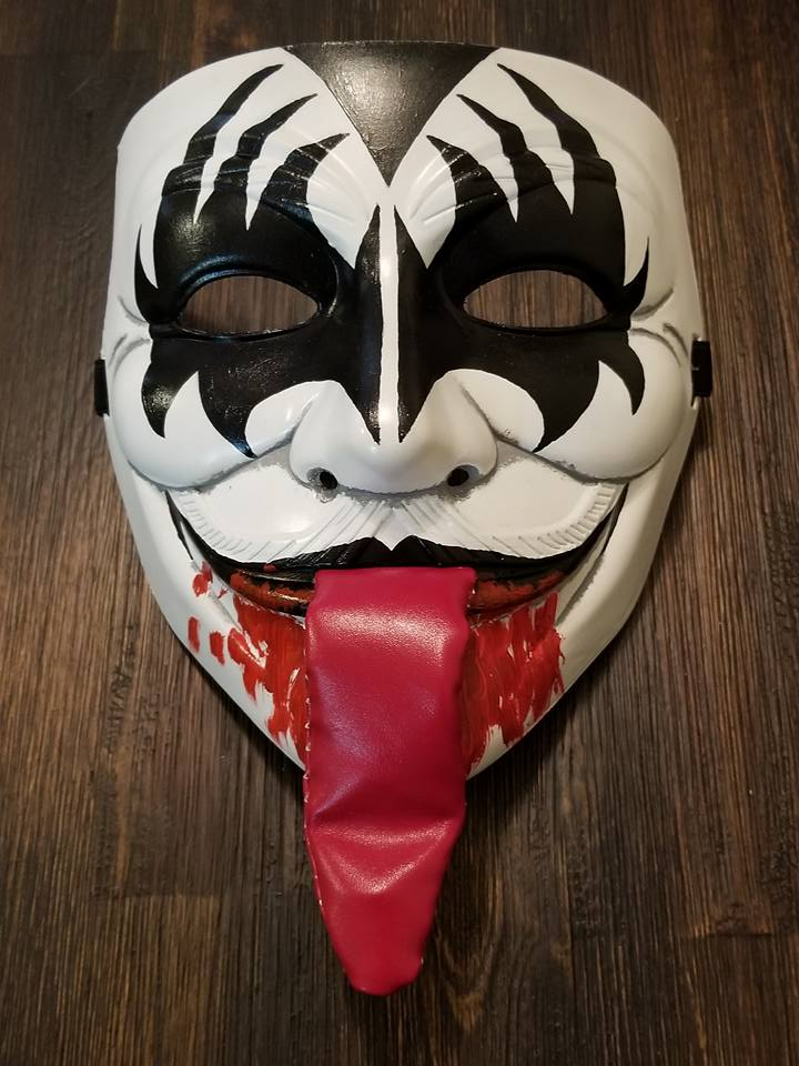 Anonymous Gene Simmons KISS Custom Mask Hand Painted Guy Fawkes Anon