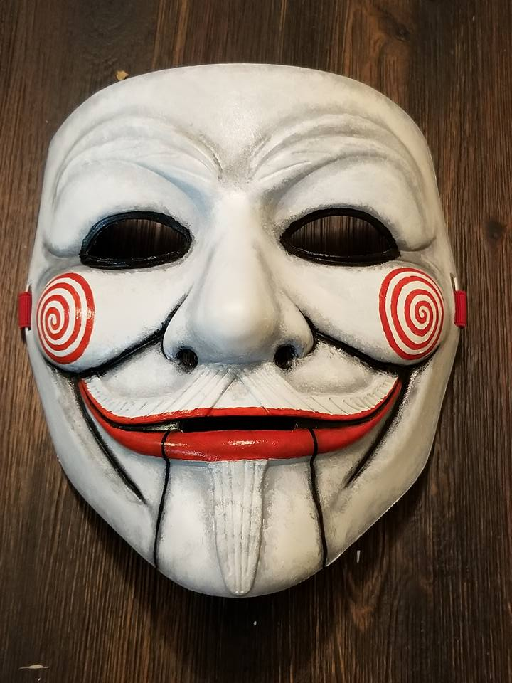 Anonymous The Saw Movie Puppet Custom Mask Hand Painted Guy Fawkes