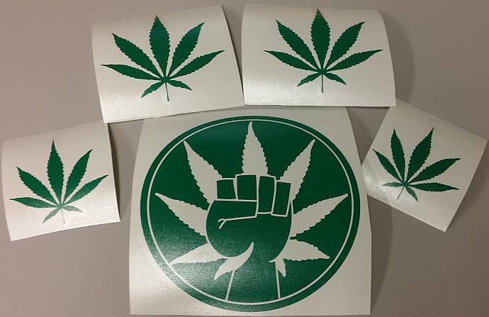 420 Collection Hemp Activism Cannabis Marijuana Weed Fist | Die Cut Vinyl Sticker Decal