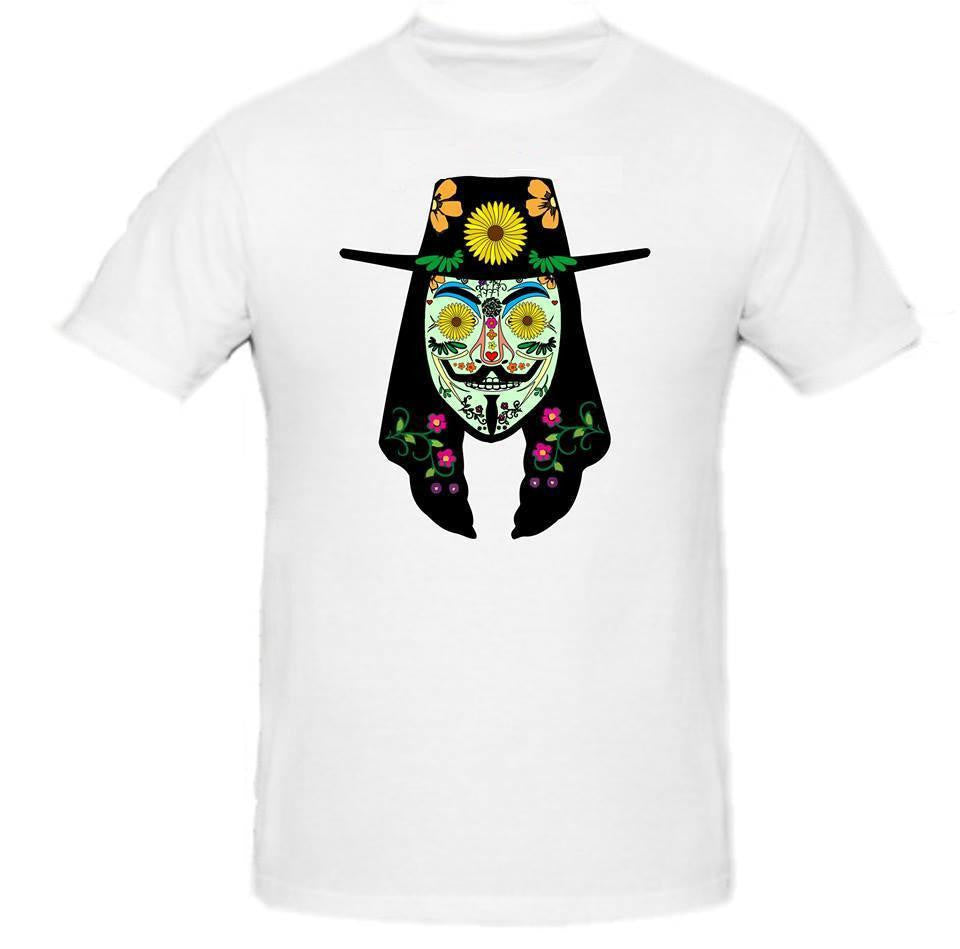 Day of the Dead Anonymous Black Hat Yellow Flower T-shirt