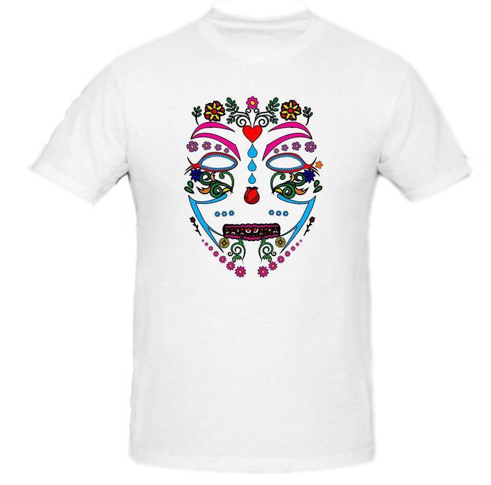 Day of the Dead Anonymous Anonymiss White Mask T-shirt