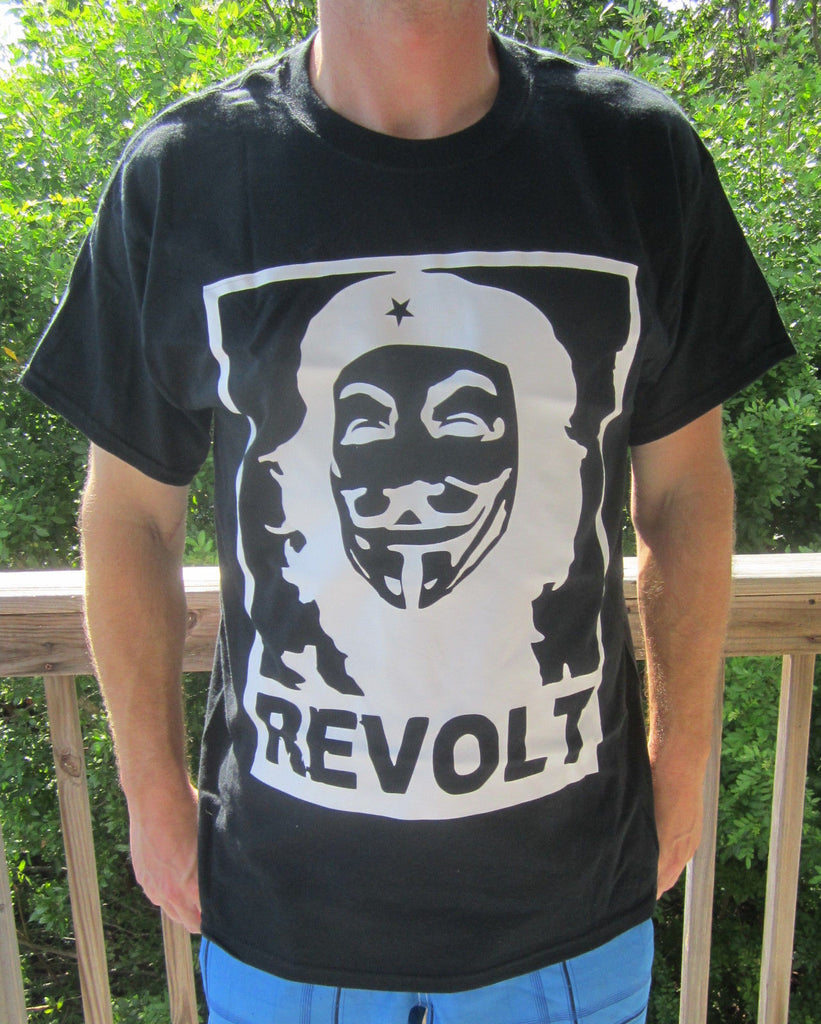 Anonymous Che Guevara REVOLT with Guy Fawkes Mask T-shirt 4Chan