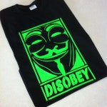 Anonymous Neon DISOBEY with Guy Fawkes Mask T-shirt