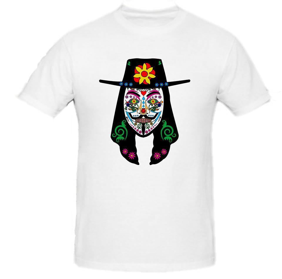 Day of the Dead Anonymous Vendetta Hat White Mask with Flower T-shirt