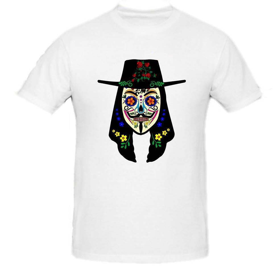 Day of the Dead Anonymous Black Hat Red Flower Vendetta T-shirt