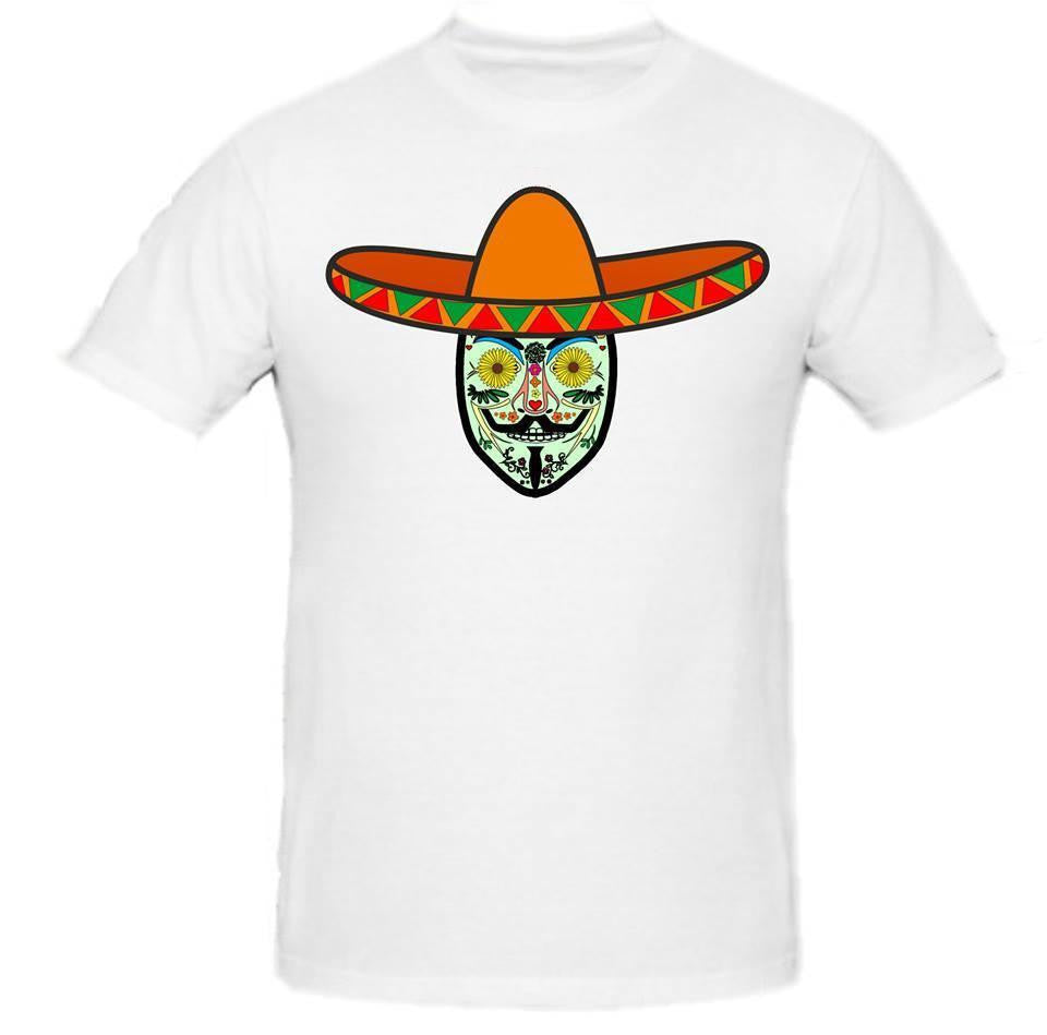 Day of the Dead Anonymous Orange Sombrero Green Mask T-shirt
