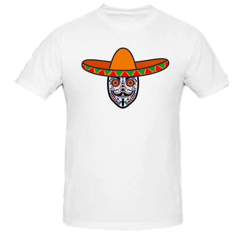Day of the Dead Anonymous Orange Sombrero Blue Mask T-shirt