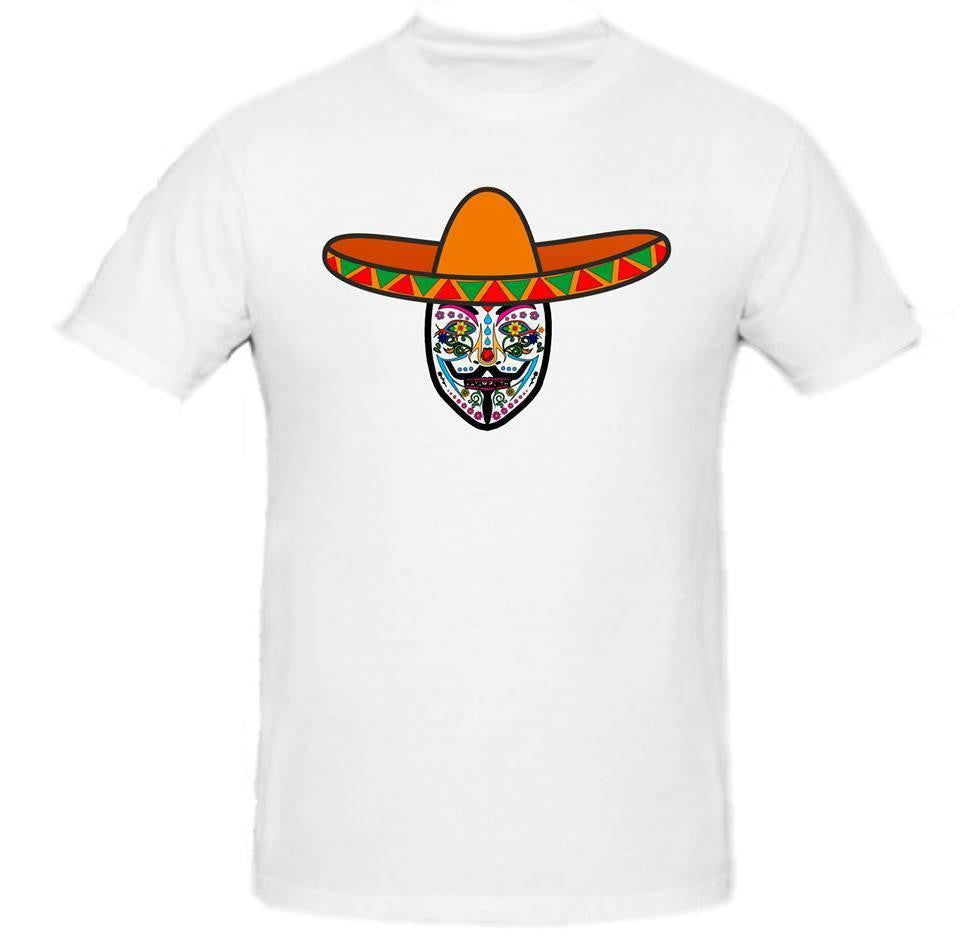 Day of the Dead Anonymous Orange Sombrero White Mask T-shirt
