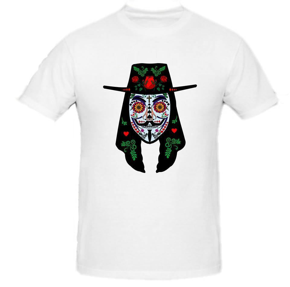 Day of the Dead Anonymous Vendetta Hat Blue Mask T-shirt