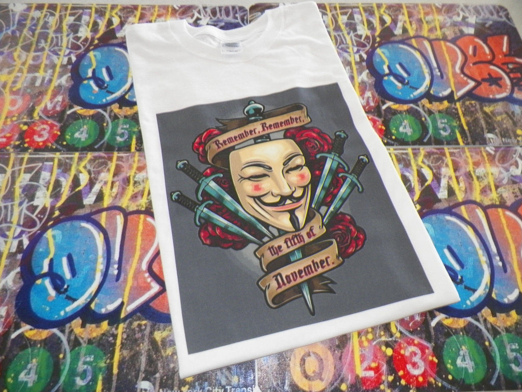 Anonymous Mask Remember the 5th of November with Guy Fawkes Mask T-shirt