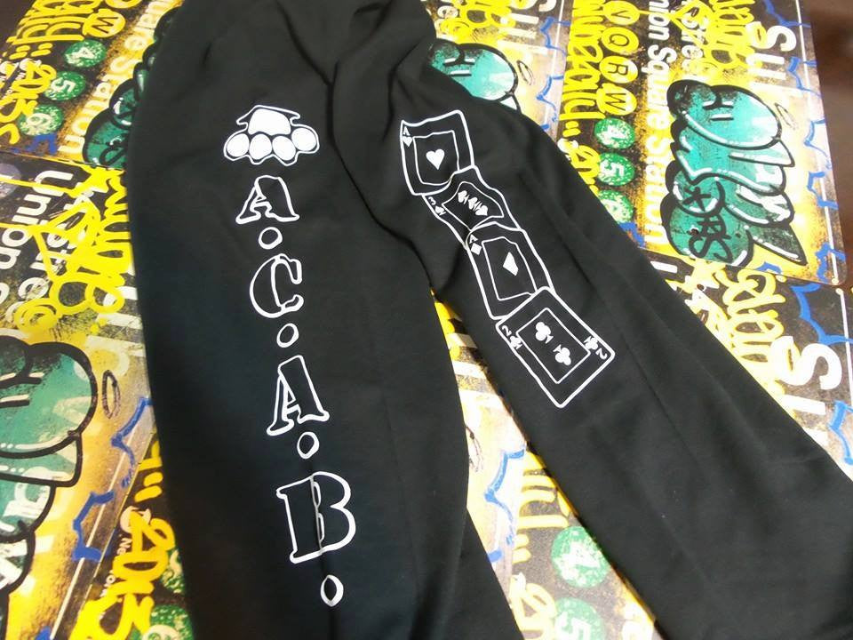 ACAB Knuckles Cards Sweatpants Two Sided Elastic Tight Bottom