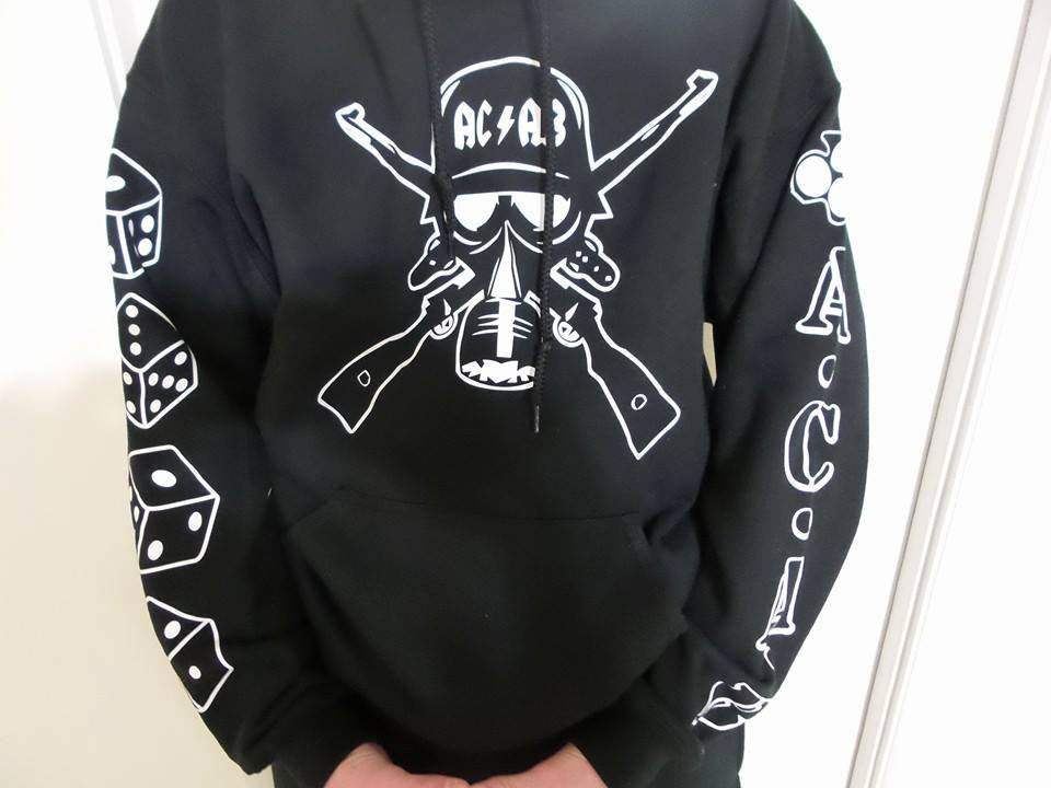 ACAB Hoodie Hoody Sweatshirt With Sleeve Logos All Cops are bastards
