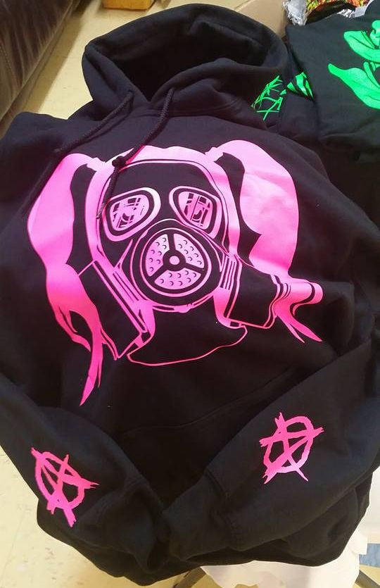 Anarchist Woman Gas Mask Pink Girlie Ponytail Anonymiss Hoodie