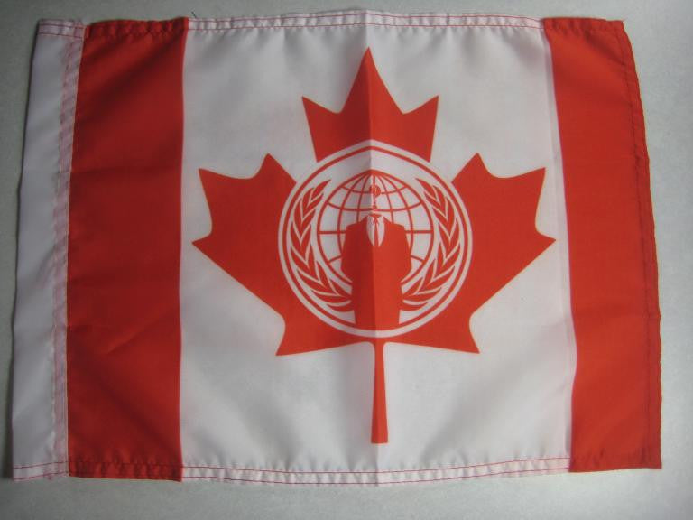 Exclusive item, nice sized Anonymous Canada HAND FLAG 15″x 12″ and has 2 metal grommets for hanging to a pole.