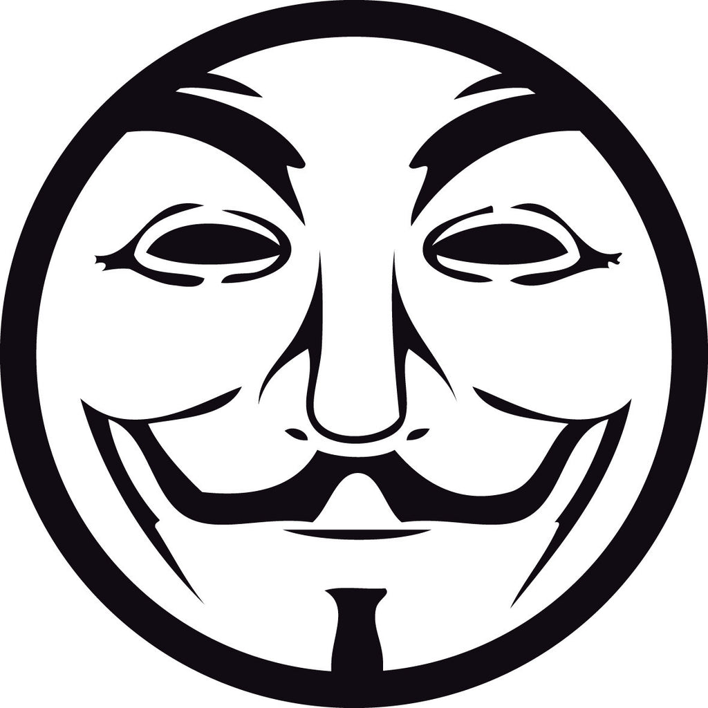 Anonymous Guy Fawkes Mask Circle | Die Cut Vinyl Sticker Decal
