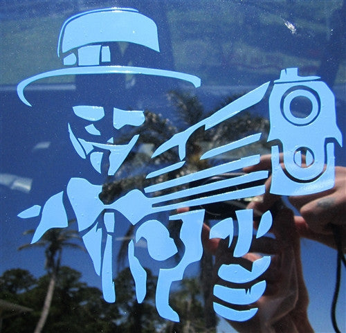 Anonymous Guy Fawkes Mask with Gun | Die Cut Vinyl Sticker Decal