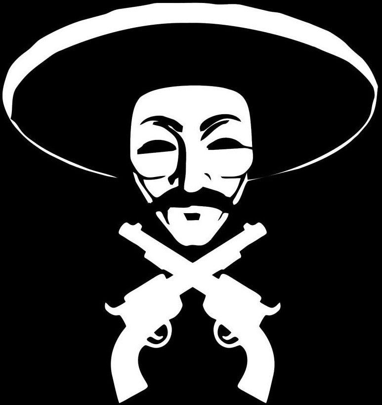 Anonymous Bandito with Guns Die Cut Vinyl Sticker Decal