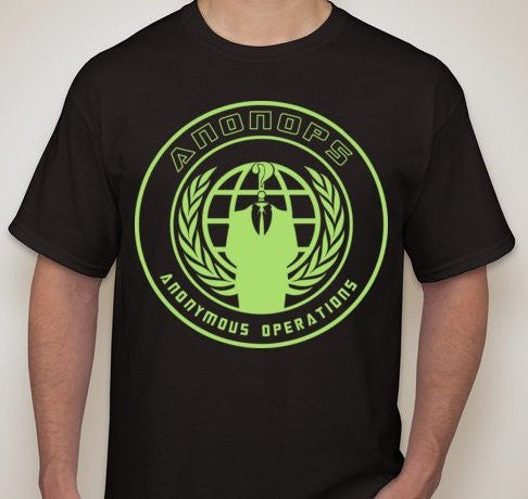 Anonymous Anonops Crest Neon Green Art T-shirt