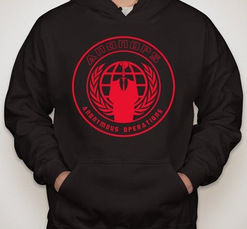 Anonymous Anonops Crest Red Art Hoodie