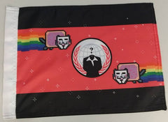 "Anonymiss Anonymous Crest With Anon Nyan Cats 15x12"" Mini Flag"