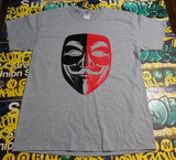 Anonymous Anarchist Red&Black Mask Expect Us T-shirt