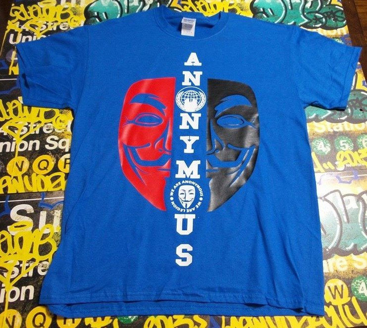 Anonymous Anarchist Red&Black Mask White Text T-shirt