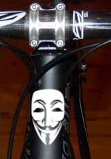 Anonymous Mask | Bicycle Head Badge Decal | Die Cut Vinyl Sticker