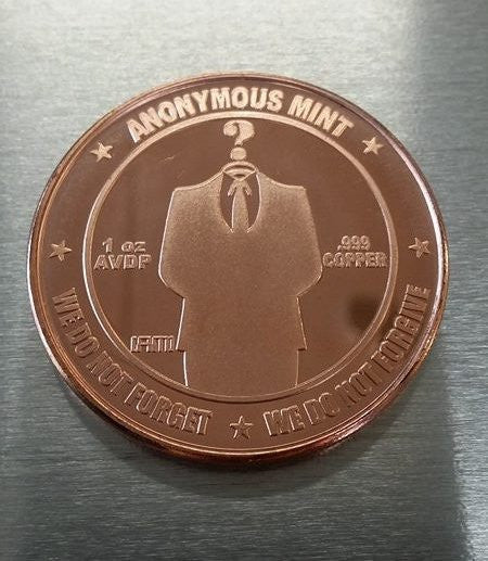 Anonymous Bitcoin Investment-grade Copper Collectible Coin Souvenir
