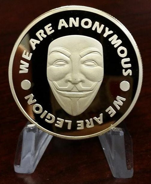 Anonymous Crest With Mask And Credo Investment-grade Copper Collectible Coin Souvenir Silver And Gold Plated
