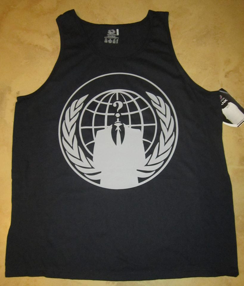 Anonymous Crest Ghost Gray Art Tank Top