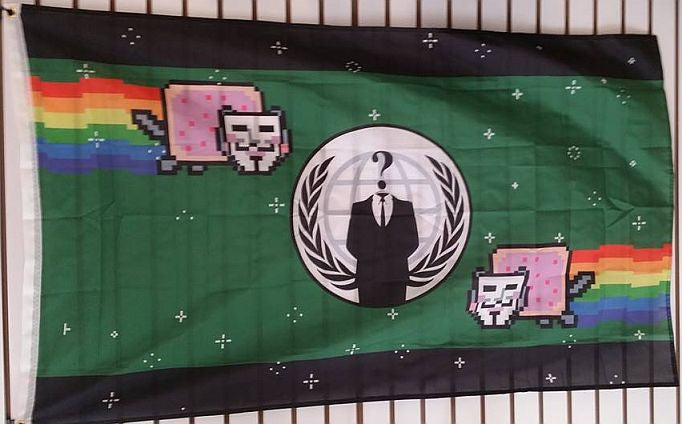 Anonymous Crest With Anon Nyan Cats Large Flag 5x3 Feet ANON Banner