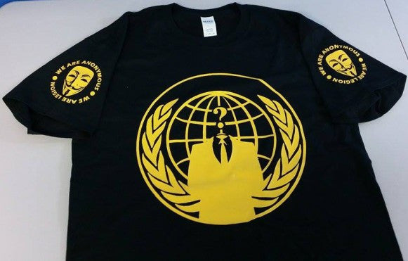 Anonymous Crest Yellow Art Guy Fawkes T-shirt With Sleeve Logos