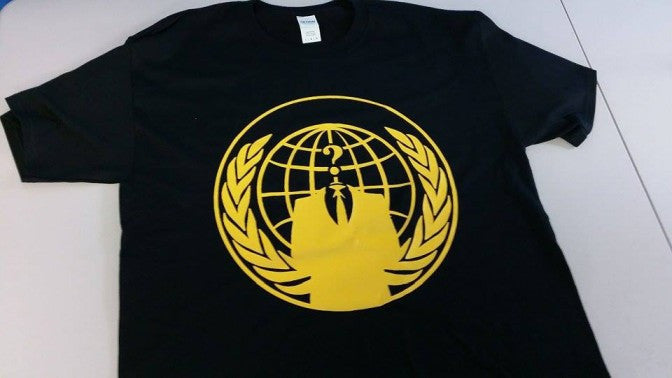 Anonymous Crest Yellow Art Guy Fawkes T-shirt