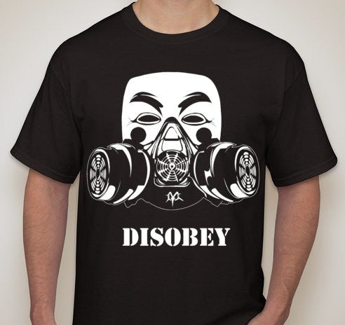 Anonymous In Gasmask Disobey T-shirt