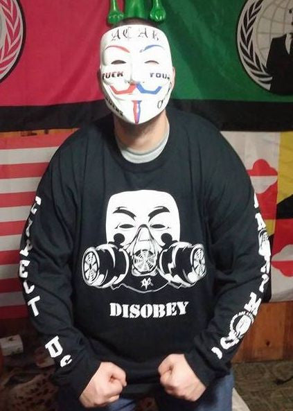 Anonymous Disobey Gas Mask With Arm Prints Long Sleeve T-shirt
