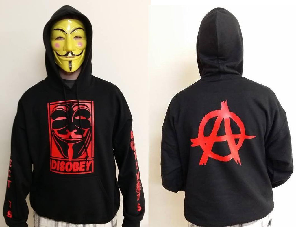 Anonymous Anarchist Disobey Fully Decked With Red Hood Mask Anarchy Symbol Sleeve Print Hoodie