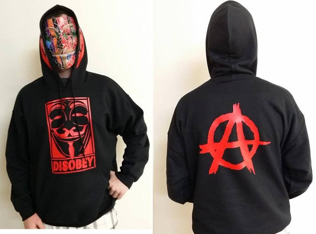 Anonymous Disobey With Red Hood Mask And Anarchy Symbol Print Hoodie