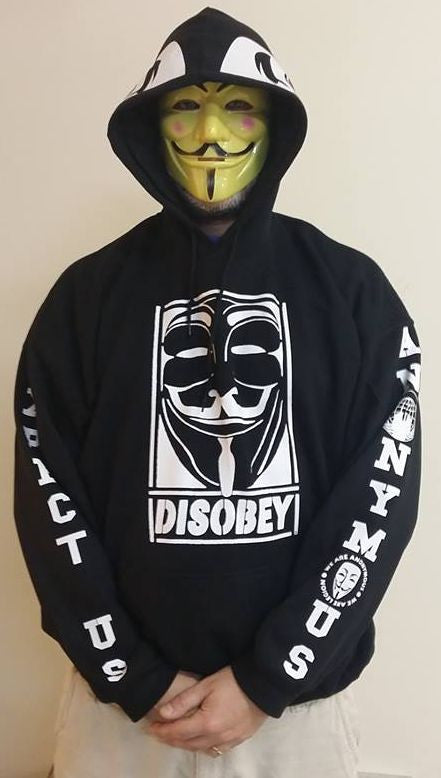 Anonymous Disobey Fully Decked With White Hood And Sleeves Print Hoodie