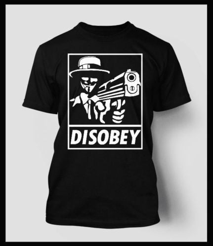 Anonymous Disobey with a Gun T-shirt in White Print