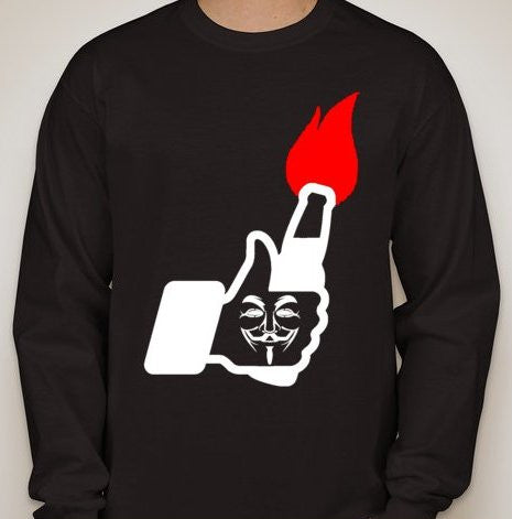 #ShutItDown Anonymous Solidarity Is Attack Molotov Facebook Like Long Sleeve T-shirt